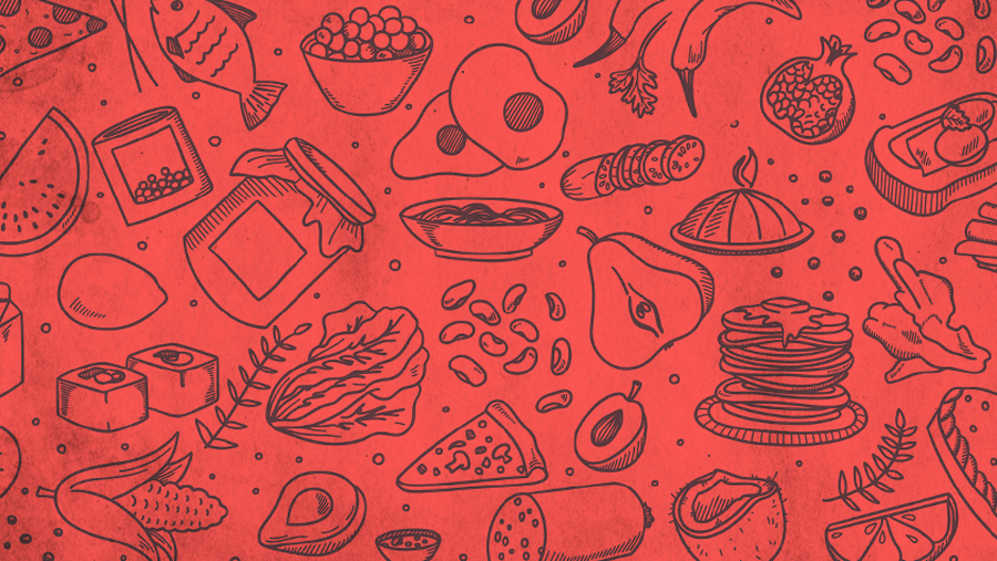 Red background with pictures of food items drawn on as line outlines