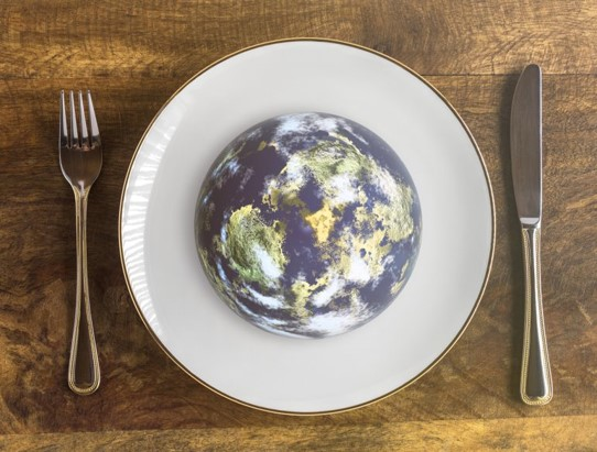 The world on a white plate with a knife and fork on either side